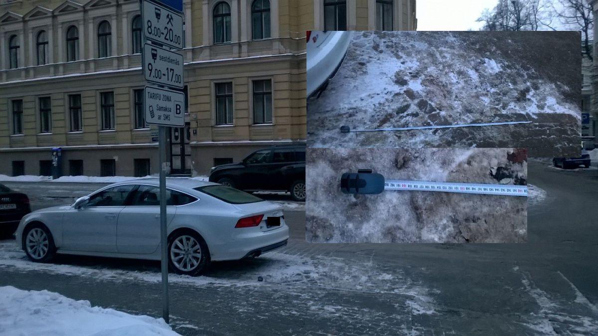 Andreja Pumpura un Antonijas ielu krustojums. Maksas stāvvieta 160 cm attālumā no krustojuma.