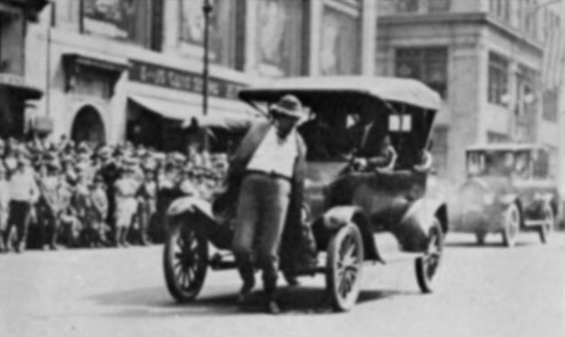 At a 1924 New York safety parade, a jaywalking clown is repeatedly rammed by a slow-moving Model T. (Courtesy of the Barron Collier Company, via Peter Norton)