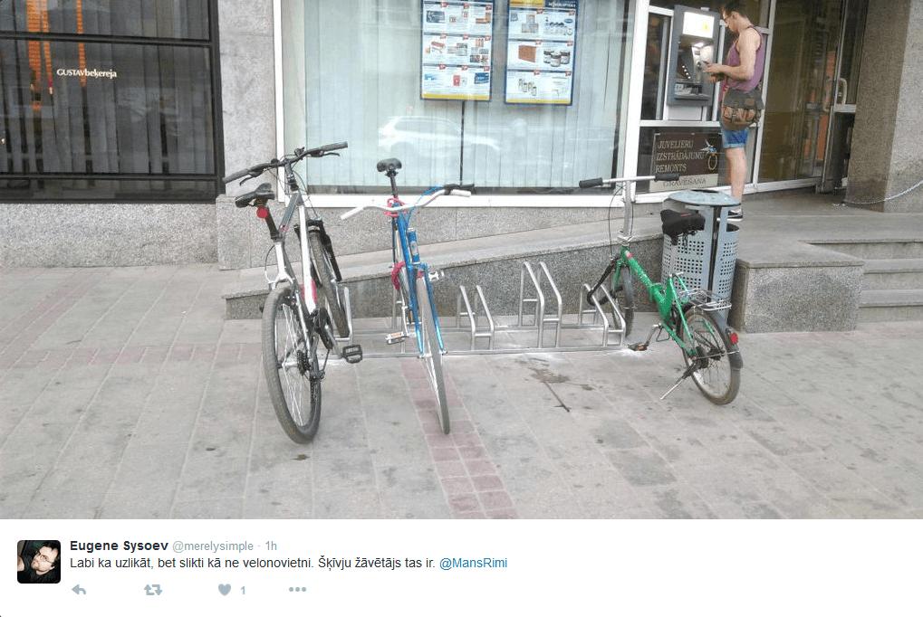 Malējos velosipēdus iespējams nozagt 10 sekunžu laikā. Vidējā velosipēda īpašnieks gan bijis zinošāks un pacenties velosipēdu pārcelt pāri novietnei un pie novietnes piestiprināt rāmi. Tā gan nav paredzēts darīt un ne visi to var izdarīt fizisku iemeslu dēļ.