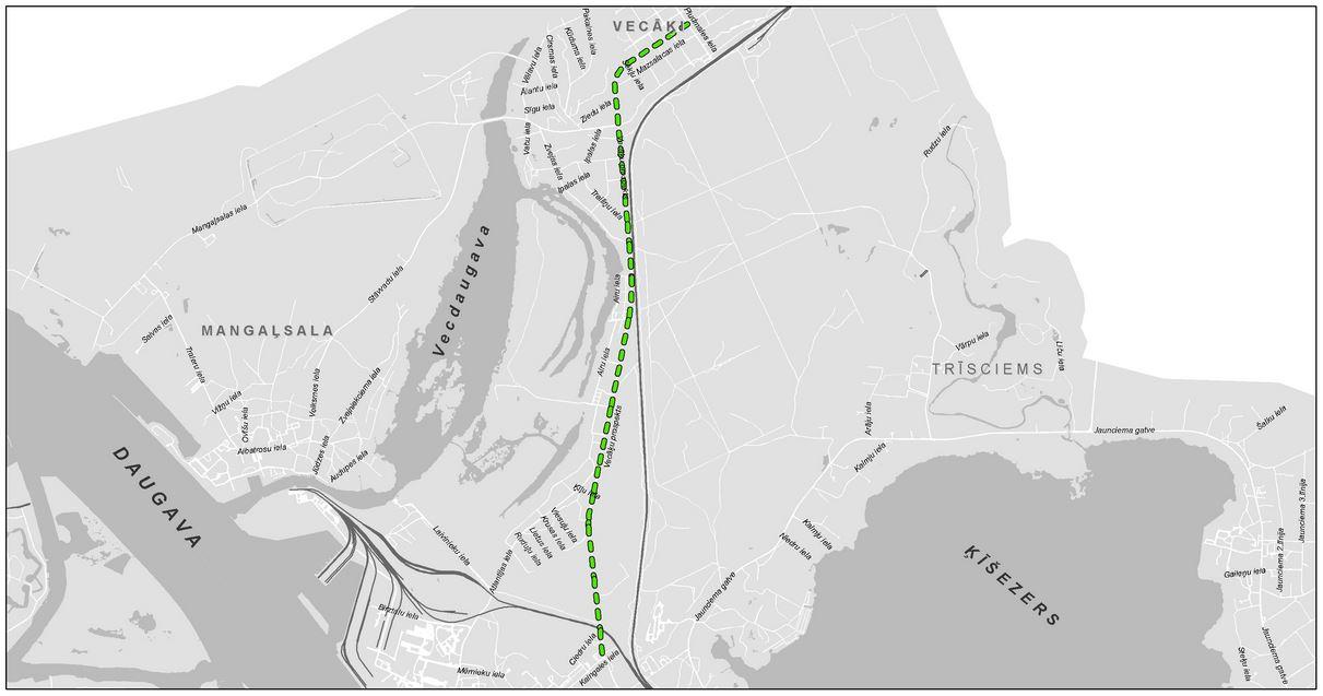 Šādi kartē izskatījās RDSD plānotais veloceļš uz Vecāķiem. Diemžēl realitātē tas tika izveidots tikai līdz Atlantijas ielai.