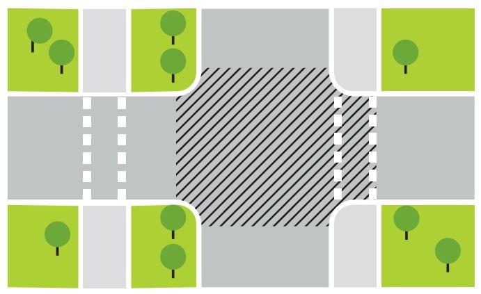 Ar diagonālajām līnijām iekrāsots krustojums. Ja veloceļš ir ārpus krustojuma, tad priekšroka ir automašīnām. Foto no veloriga.lv