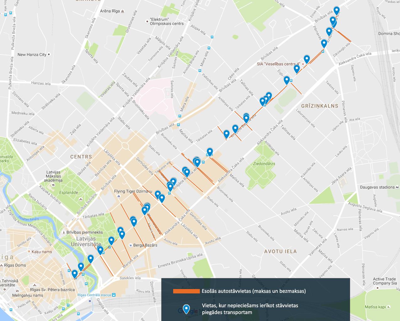 Kopumā Barona ielā ir neskaitāmas kafejnīcas, veikali un biroji, kuru vajadzībām stāvvietas piegādes transportlīdzekļiem būtu jāierīko teju katrā Barona ielas krustojumā, lai šo problēmu sakārtotu.