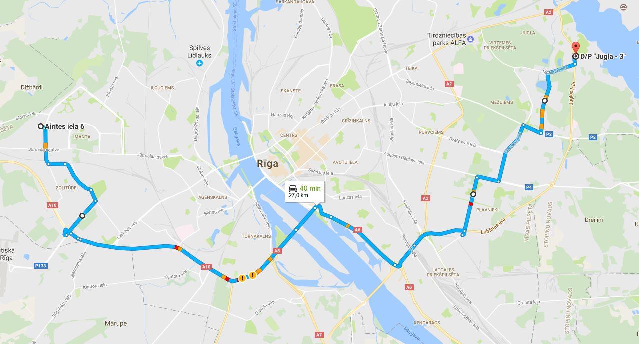 Maršruts Imanta - Jugla